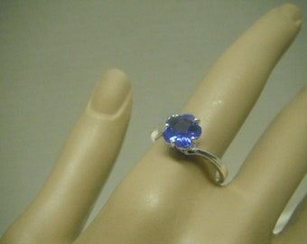Pretty royal blue sterling silver plated cubic zirconia ring