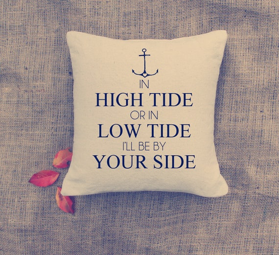 Wedding: Anchor - Nautical - Pillow Cover - In High Tide - cottage deco - NAVY
