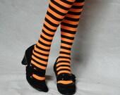 Orange and Black Striped Tights
