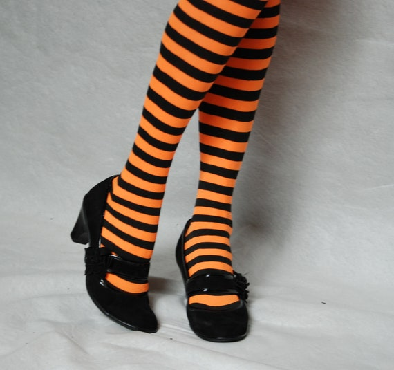 Orange and Black Striped Tights