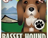 Basset Hound Wilderness Dogs Original Art Print - Personalized Dog Breed Art -11x14- Customize with Your Dog's Name - Dogs Incorporated