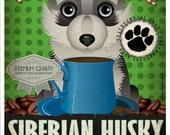 Siberian Husky Coffee Bean Company Original Art Print - Custom Dog Breed Art - 11x14