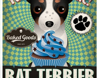 Rat Terrier Cupcake Company Original Art Print - Custom Dog Breed Print -11x14- Customize with Your Dog's Name - Dogs Incorporated