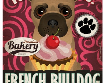 French Bulldog Cupcake Company Original Art Print - Custom Dog Breed Print -11x14- Customize with Your Dog's Name - Dogs Incorporated