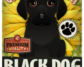 Dogs and Flowers Art Print - Black Dog Art Poster 11 x 14