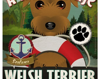 Welsh Terrier Sailing Company Original Art Print - 11x14 - Customize with Your Dog's Name