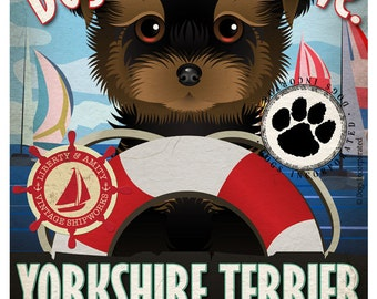 Yorkshire Terrier Sailing Company Original Art Print -11x14- Customize with Your Dog's Name