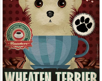 Wheaten Terrier Coffee Bean Company Original Art Print - 11x14- Personalize with Your Dog's Name