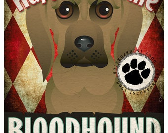 Bloodhound Pampered Pups Original Art Print - 11x14 - Dog Poster - Dogs Incorporated