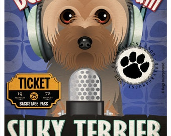 Silky Terrier Recording Studio Original Art Print - Custom Dog Breed Print - 11x14 - Personalize With Your Dog's Name