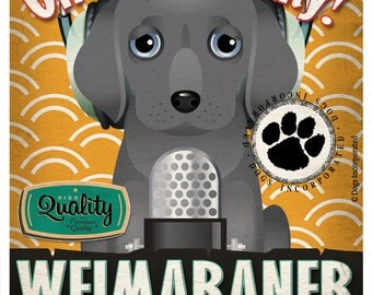 Weimaraner Recording Studio Original Art Print - Custom Dog Breed Print - 11x14