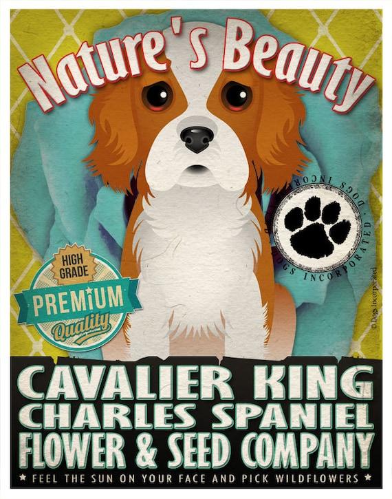 Dogs and Flowers Art Print - Cavalier King Charles Spaniel Art Print 11 x 14