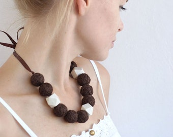 Brown long beads handmade necklace thread cotton for women lace textile wooden beads natural bright