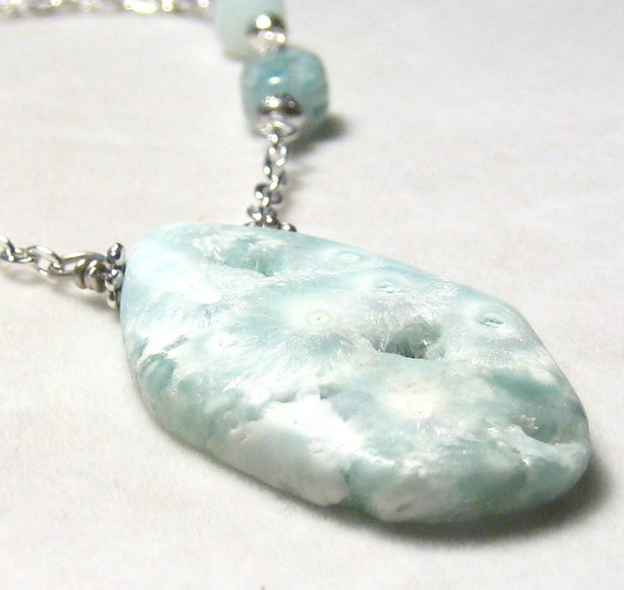 Pastel Blue Hemimorphite Opal  Necklace Bohemian Jewelry