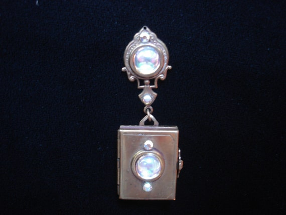 Vintage Brass Locket Faux Moonstones