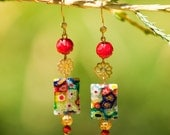 Oriental inspired Millefiori and glass beaded earrings
