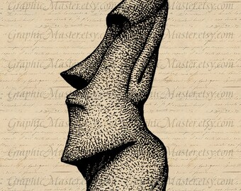 Moai Easter Island Statue Collage Sheet Digital Image Iron On Transfers Clothing Fabrics Burlap Pillows Towels Tote Bags Paper Crafts a251
