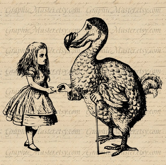 alice in wonderland png jpeg dodo bird digital collage sheet
