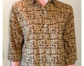 Vtg Vintage 1950s Gordon Peters Novelty Print JD Top M