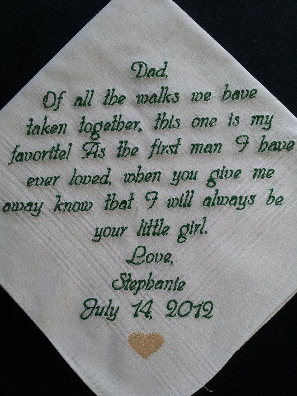Choose 40 words. Dad wedding handkerchief. Free Gift Box