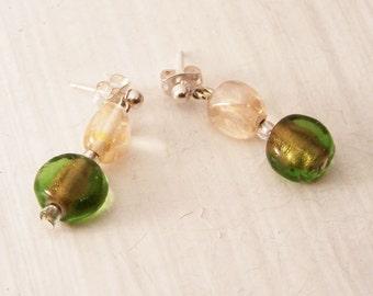 REDUCED PRICE Handmade Earrings, Green and Cream Earrings, Bead Earrings,