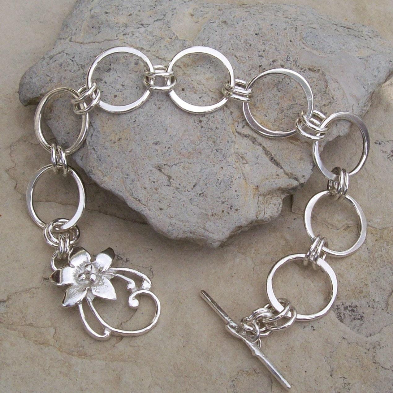 Ring Bracelet Chain: Handmade Sterling Silver Chain Bracelet With Sterling Silver