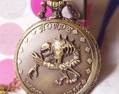 Hot Sale-Victorian Antique carve Alien Fossil  Pocket Watch Necklace Chain N065