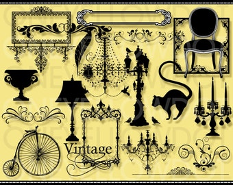 INSTANT DOWNLOAD - 20 Various Silhouette Vintage Digital Clipart 515 - PNG - Personal and Commercial Use - No Credit Required