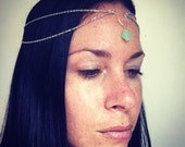 Silver Head Chain with Jade
