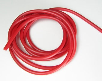 Rubber cord 5mm  red, hollow tubing, 6 feet