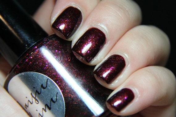 Nail Polish: Vampires Suck - Dark Maroon Polish with Red and Fuschia Glitters