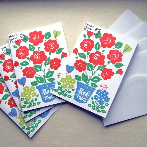 SALE ITEM 'Thank You' greeting cards, pack of 4.  Roses illustration with butterflies.