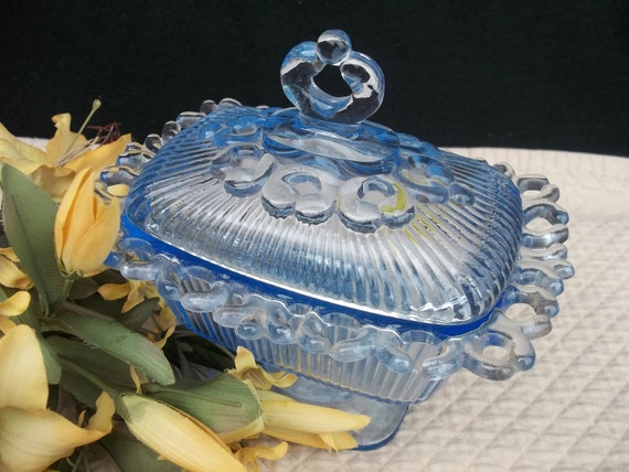 Vintage Blue Glass Scalloped Edge Compote with Lid