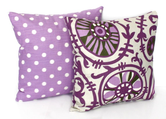 Items similar to 2 DECORATIVE PILLOW Covers - THROW Pillows - 18 x 18 inches - Purple Gray ...