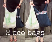 RESERVED 2 reusable bags, eco friendly small shopping bags, upcycled bags BUY 2 get 1 FREE