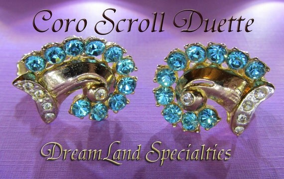 Coro Vintage Jewelry Gold Scroll Duette Blue Rhinestone Earrings
