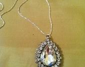 Large Rhinestone Pear Shape Pendant bridal necklace