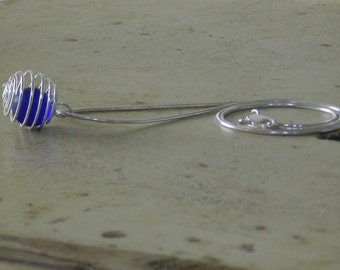 Spiral Cage Necklace and Earring Set with Blue Glass Marble, Sterling Silver