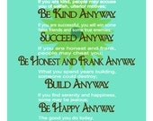 Do It Anyway- Inspirational Quote by Mother Teresa 11 x 17 Digital Fine Art Wall Poster Print-TEAL