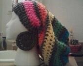 Rainbow Tam w/ Grey Earrings set