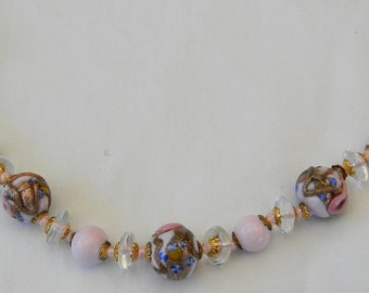 1920s Art Deco Vintage Hand Knotted Venetian Light Rose Wedding Cake Glass Bead Necklace 25""