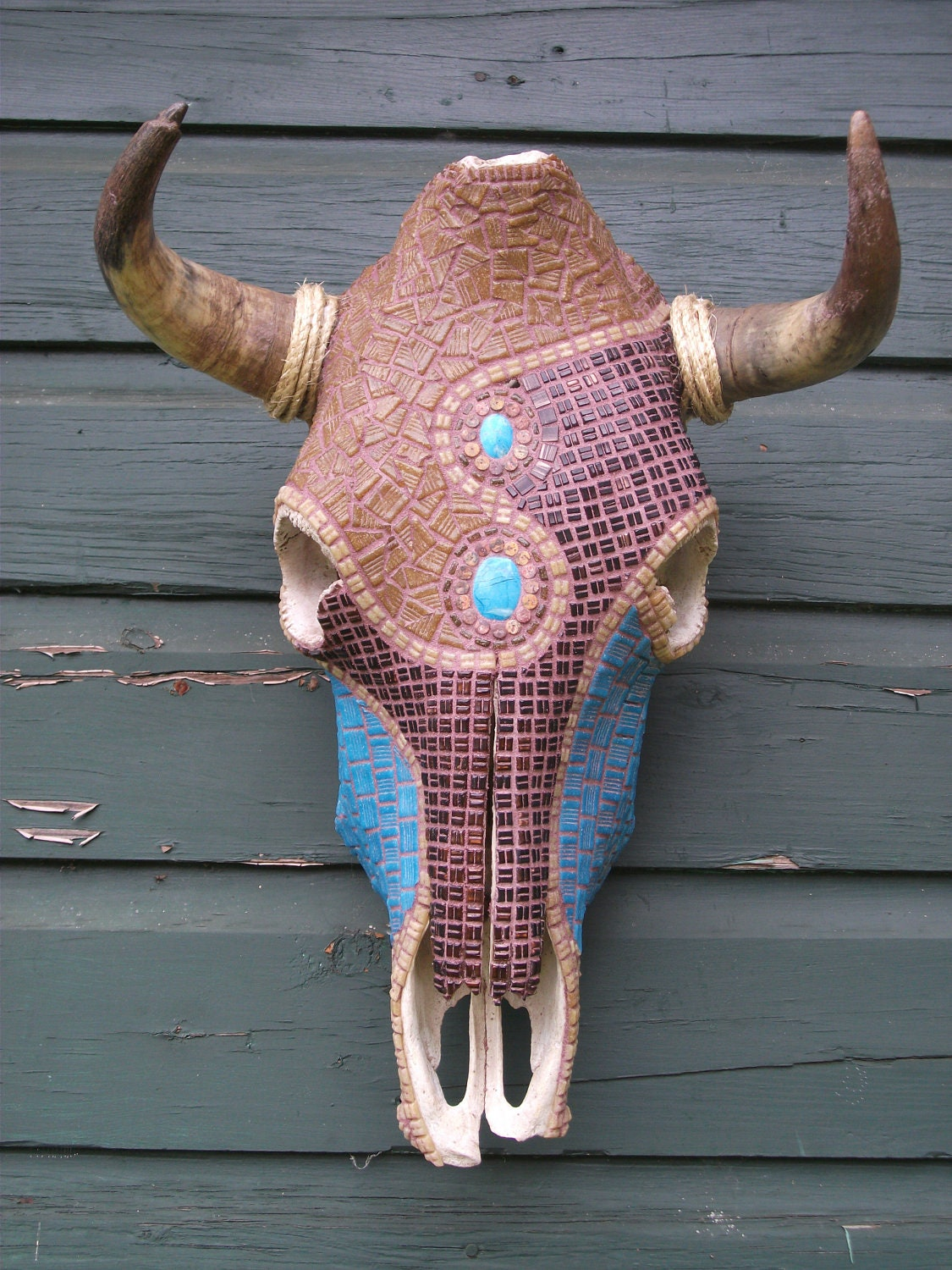 Cow Skull Wall Decor Mosaic ArtPRICE REDUCED by minilonghorns