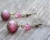 Bronze Handmade Pink Agate Crystal Bead Dangle Filigree Earrings Earring Jewelry