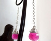 Sterling Silver Ruby Red Pink Crystal Wire Wrapped Dangle Earrings Jewelry