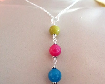Pink Blue Green Dyed Quartz Bead Pendant Crystal Silver Necklace Jewelry