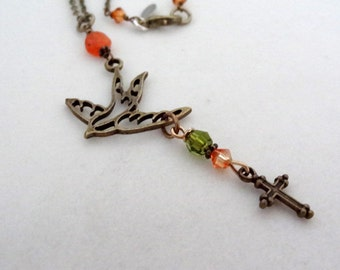 Orange Carnelian Cross Bird Charm Pendant with Green Crystal Bead Accent  Bronze Necklace Handmade Christian Religious Jewelry