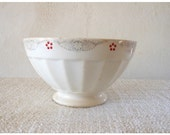 French 1 BOWL cafe au lait - Digoin RED and BLUE with flower - Shabby chic - country style