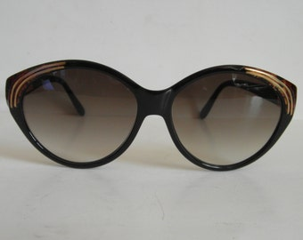 Vintage Black & Gold Abstract Oval Jacques Fath Sunglasses