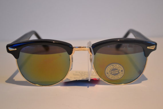 Vintage Black & Yellow Gold Browline/Clubmaster Mirrored Lenses Sunglasses
