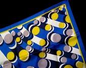 T h r e a d g a m e s / tubular belle NEAR MINT VTG 70s square scarf, silky feel, hypnotizing Escher effect futuristic print